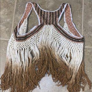 Buckle gimmicks fringe vest medium